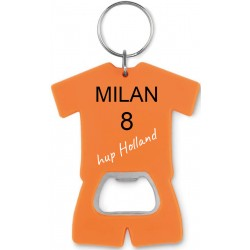 Oranje voetbal t-shirt flesopener sleutelhanger met naam en of foto