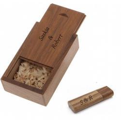 Walnoot hout usb stick in hout doos bedrukken 32GB