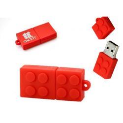 Brick bouwsteen rood 16GB usb stick met logo, vanaf 5 stuks bedrukken