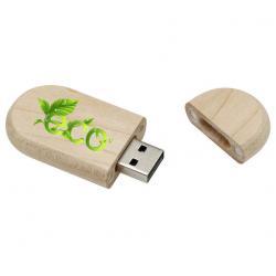 Ovaal hout usb stick met dop bedrukken met logo. Vanaf 5 stuks.