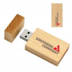 Rechthoek hout 16GB usb stick met logo. Vanaf 5 stuks bedrukken.
