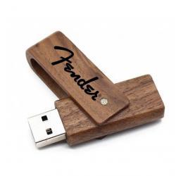 Walnoot hout uitklap 16GB usb stick met logo. Vanaf 5 stuks bedrukken