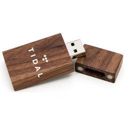 Walnoot hout rechthoek usb stick met naam/foto 32gb