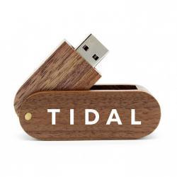 Walnoot hout twister 16GB usb stick met logo. Vanaf 5 stuks bedrukken