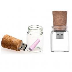 Glazen fles met kurk usb stick. 16GB