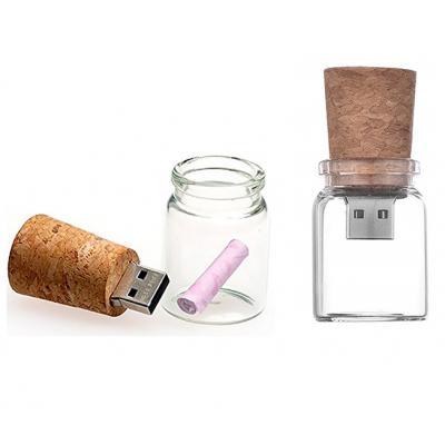 Glazen fles met kurk usb stick 32gb