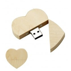 Hout hart usb stick 16gb