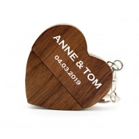 Walnoot hout hart usb stick met naam 8GB