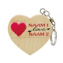 Valentijnsdag cadeau hart usb stick met naam 8gb model 1003