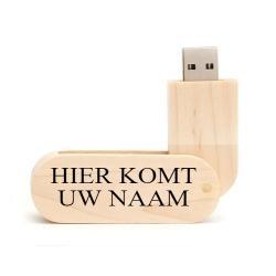 Hout twister afgedrukt naam USB stick 16GB