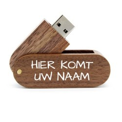 Walnoot hout twister afgedrukt naam USB stick 16GB