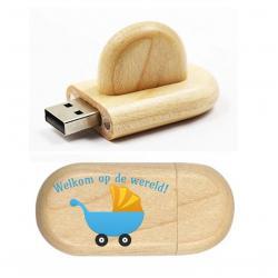 Kraamcadeau bedrukt ovaal hout usb stick model 6