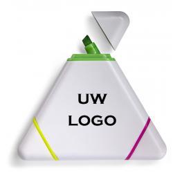 3 kleuren driehoek markeerstift met logo, vanaf 25 stuks bedrukken