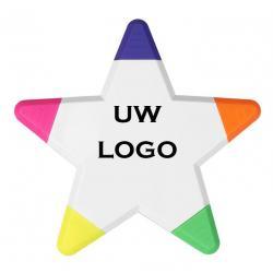 5 kleuren ster markeerstift met logo, vanaf 25 stuks bedrukken
