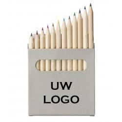 12 delige kleurpotloden met logo, vanaf 25 stuks bedrukken