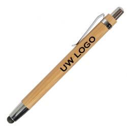 Bamboe balpen-stylus pen met logo, vanaf 10 stuks bedrukken