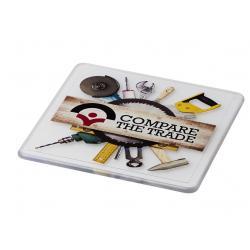 Vierkante kunststof onderzetter met logo, vanaf 25 stuks full colour bedrukken