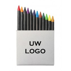 12 delige waskrijt met logo, vanaf 10 stuks bedrukken