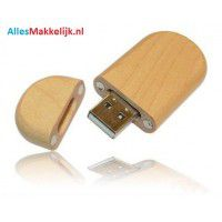 Hout met dop usb stick. 16gb