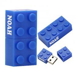Usb stick met naam bedrukken vanaf 1 stuk. Brick bouwsteen blauwe 32gb