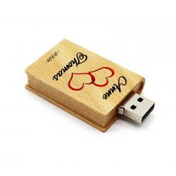 Hout boek usb stick met naam 32GB