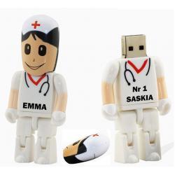 Verpleegster zuster usb stick bedrukken met naam. Vanaf 1 stuk. 32gb