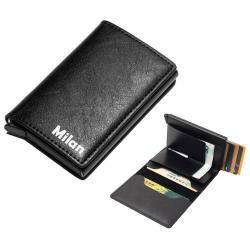 Luxe lederen portemonnee kaarthouder met naam