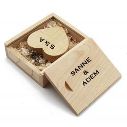Hout hart usb stick en hout doos bedrukken 32GB. Vanaf 1 stuk