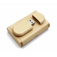 Ovaal hout usb stick in hout doos 32GB
