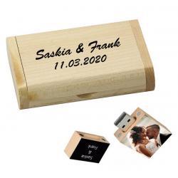 Rechthoek usb stick en hout doos bedrukken 16GB