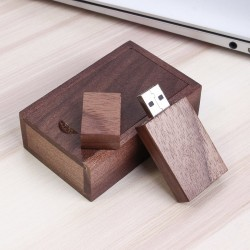 Walnoot rechthoek hout usb stick in hout doos 64GB