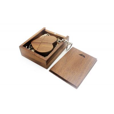 Walnoot hout hart usb stick in hout doos 16GB