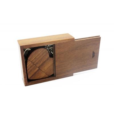 Walnoot hout hart usb stick in hout doos 64GB