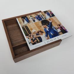 Walnoot hout usb stick 32GB en luxe hout bewaardoos bedrukken