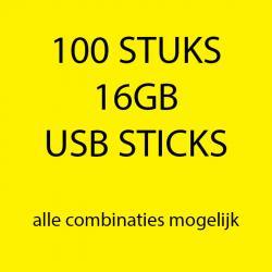 100 stuks 16gb USB sticks