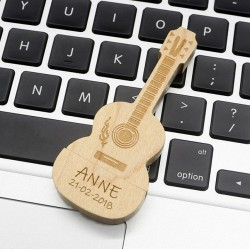 Hout gitaar usb stick bedrukken 16GB